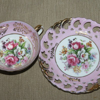 Vintage Royal Sealy Tea Cup Set, 2 Pink and 1 White Roses, Pierced Border, Gold Trim, Three Footed Tea Cup, Pink & White Decor, Collectible