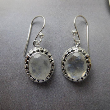 Sterling Moonstone Earrings, Vintage Bali Style, Pierced Moonstone Earrings, Moonstone Jewelry