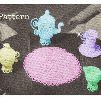 Crochet Mini Tea Set TOY Pattern Vintage 30s Crochet Tea set pattern Crochet teapot pattern Crochet Girl TOY Pattern