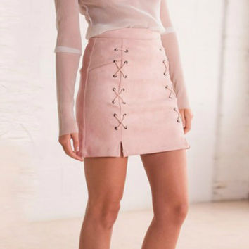 Womens Autumn Lace Up Leather Suede Pencil Skirt Winter 2016 Cross High Waist Skirt Zipper Split Bodycon Short Skirts