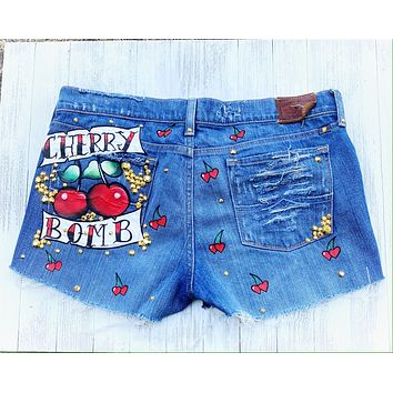 Cherry Bomb tattoo jean shorts, cut off festival shorts