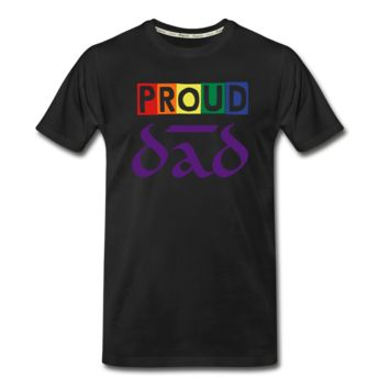 "Men's ZMK Style Premium Organic T-Shirt LGBTQ ""PROUD DAD"" (S-5XL) Black"