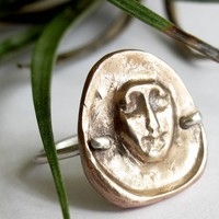 Unique Bronze and Sterling Face Ring ancient look of talisman luck | Metal_Artistry - Jewelry on ArtFire