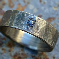 viking mens silver ring gemstone, industrial wedding band men engagement ring silver, forged silver band ring, cool mens ring unique