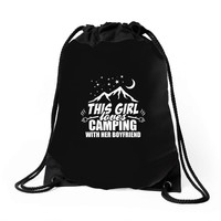 This Girl Loves Camping With Her Boyfriend Drawstring Bags