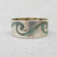 Pretty Mexican Sterling Silver Inlaid Turquoise Chip Vintage Band Ring, Size 6.5