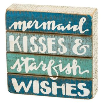 Mermaid Kisses Artisan Wood Block Sign