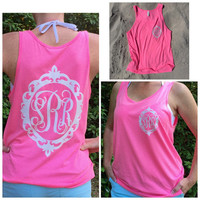 Glitter Monogram Tank Top, Swimsuit Coverup, Monogrammed Tank top, Baroque frame glitter monogram