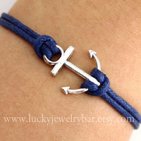 Anchor-antique silver anchor bracelet, navy blue wax cords bracelet, sailing bracelet - SALE
