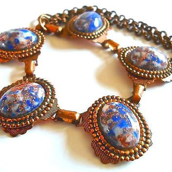 Copper & Art Glass Necklace, Blue Fluss Glass, Rolo Chain, Vintage