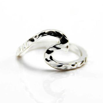 Wave Surf Beach Ring handmade Sterling/ / Wire Wrap Filled Bride Girlfriend Gift anneau Simple Wedding Jewelry S6286