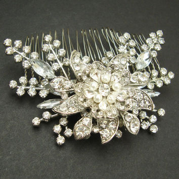 Victorian Style Wedding Hair Comb, Pearl & Crystal Bridal Hair Comb, Wedding Hair Accessory, Vintage Bridal Head Piece, STARGAZER III