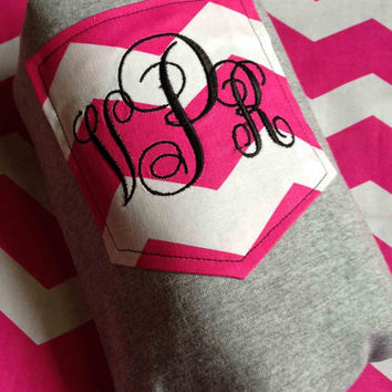 Long Sleeved Monogrammed Pocket Tee  Pink and White Chevron Pocket T-Shirt Monogrammed Personalized Tees