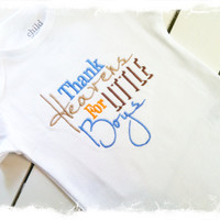 Thank Heaven For LITTLE BOYS BODYSUIT-Boys Applique Bodysuit-Embroidered Saying Bodysuit-Baby Boys Clothes