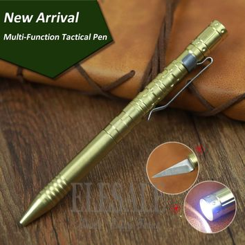 New Brass Tactical Pen With Knife And Flashlight Ball Point Pen Gift Box For Self-Defense Weapons Emergency Kits Outdoor Camp