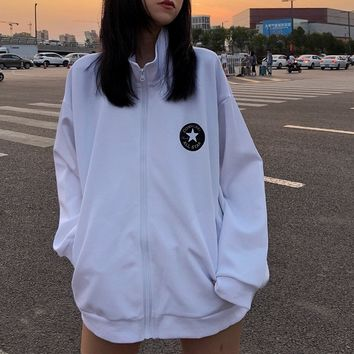 """Converse""Women Sport Casual Solid Color Leisure Upright Neck Print Long Sleeve Zip Cardigan Jacket Coat Baseball Clothes"