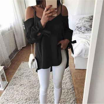 DERUILADY Women Plus Size Blouses 2018 New Casual Sexy Off Shoulder Blouse Shirt Lace Up Solid Loose Cami Tops Blusas