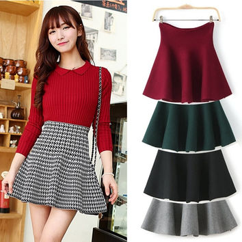 Red/Gray/Black/Green/Plaid Skirts New 2015 Spring Winter Ladies Fashion Casual High Waist Kintted Pleated Women Skirt = 1945918404