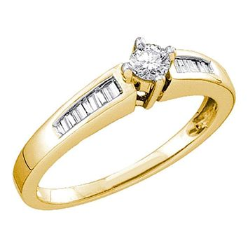 10kt Yellow Gold Women's Round Diamond Solitaire Bridal Wedding Engagement Ring 1/4 Cttw - FREE Shipping (US/CAN)
