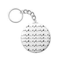 Black and White Wavy Stripes Pattern Keychain