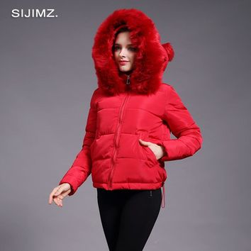 Classic Women's Winter Jacket Faux Fur Collar Jacket Padded Polyester Fiber Hooded Women luxury winter coats Winter Jacket