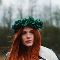 Cry Wolf - Flower Crown / Floral Crown / Flower Halo / Flower Headband / Festival Wear / Forest Green Roses