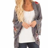 Women's Gray Floral Printed Kimono Coverup Cardigan with Lace and Bell Sleeve Detail
