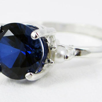 Blue Sapphire and Pearl Ring Sterling Silver, September June Birthstone Ring, Sapphire Engagement Ring, Sterling Silver Blue Sapphire Ring
