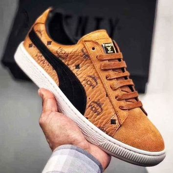 Gotopfashion MCM X PUMA Wing Print Logo Women Men Trending Sneakers Flat Shoes B-CSXY Brown