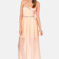 TFNC Damia Beaded Peach Maxi Dress