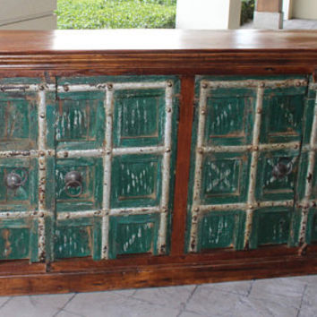 Green INDIAN Solid Wood Sideboard Antique Old Door Console Rustic Chest Buffet Cabinet Storage Farmhousestyle