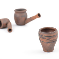 Small handmade designer clay hookah bowl with patterns