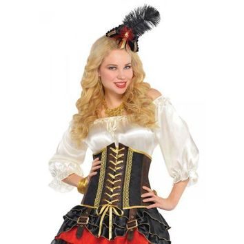 Pirate Costume Corset Adult Medieval Renaissance Bar Wench Halloween Fancy Dress