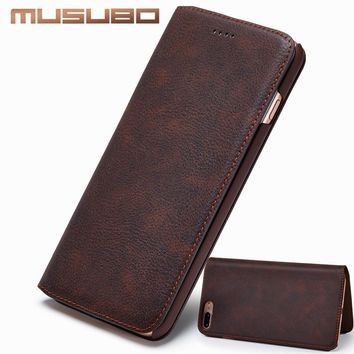 Musubo Ultra Slim Phone Case for iPhone X 7 Plus Genuine Leather Luxury Cases Cover for iPhone 8 6 Plus 6s 5 5s SE S8 Flip capa