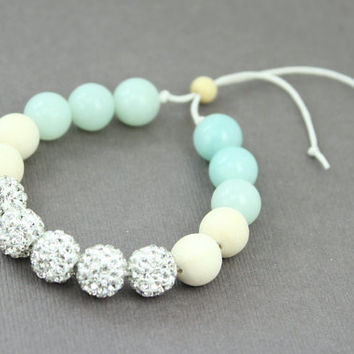 Beaded Bracelet : Adjustable Bracelet with White Shambala Beads, Whitewood Beads and Amazonite Beads, Pure White, Diamond, Teal, Ivory