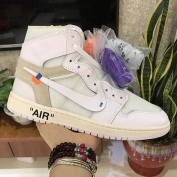 OFF-WHITE x Air Jordan 1 White Sneaker Shoe