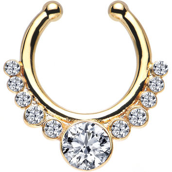 Clear Gem Gold IP Pure Glamour Non-Pierced Clip On Septum Ring