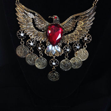 Antiqued Gold Eagle Coin Statement Necklace, Red Crystal Eagle coin Necklace