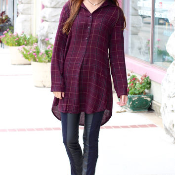 Side Slit Gold Tinsel Plaid Tunic Dress {Burgundy}