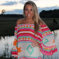 Bangles Boutique — AZTEC PRINT MULTI BRIGHT COLORED BELL SLEEVE WITH RUFFLE TOP