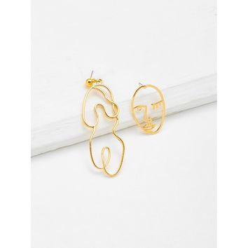 Abstract Open Face Design Drop Earrings