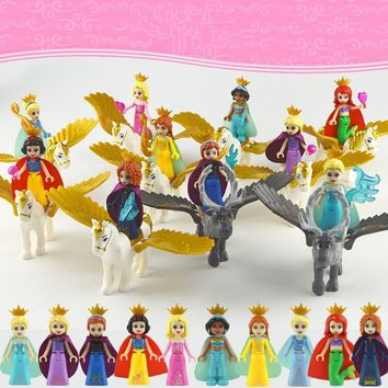 10Pcs Fairy Tale Princess Mermaid Elsa Anna Belle Flying Horse Building Blocks Bricks Figures Toys Compatible With Lego Friends