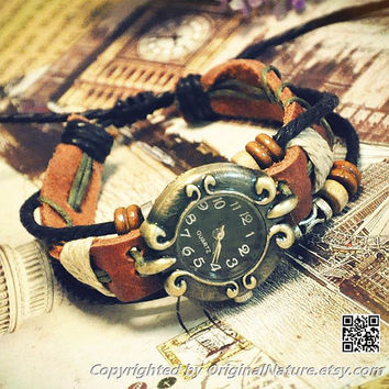 Vintage Retro Womens Jewelry Bangle Leather Bracelet Girl Ropes Quartz Wrist Watch (GA0002)