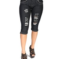 Diamante Premium Jeans Ripped Super Sexy Stretch Push-Up Capri DP2C-0452BLK