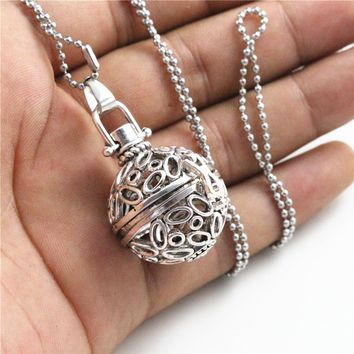 1pcs 36x26x21mm Brass Magic Locket,Fragrance Oil Aromatherapy Diffuser, 27.5 inch Long Stainless Steel Pendant Necklace N7-22