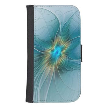 The little Beauty, Abstract Fractal Art with blue Phone Wallet