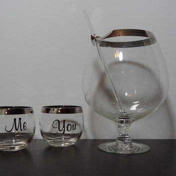 Vintage Silver Rimmed Roly Poly Me and You Cocktail Glasses and Pedestal Goblet Pitcher with Glass Stirrer - Mad Men Style