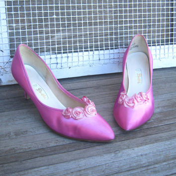 Gorgeous Vintage Fuchsia/Hot Pink Pumps, Embellished by Light Pink Satin Roses - Retro Hot Pink Wedding Pumps;Size 8B - Hot Pink Dance Pumps