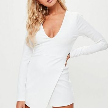 Missguided - White Crepe Wrap Skort Romper