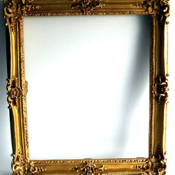 Gold Gilt Frame Large Antique Picture Frame Ornate Carved Gesso Hollywood Regency Hanging Wall Frame Art Living Room Decor  Bedroom French